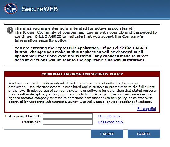 ExpressHR Com - Kroger Express HR - SecureWEB Login
